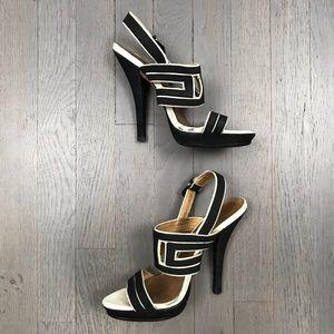 L.A.M.B. Shoes - L.A.M.B. Black White Open Toe Slingback Pump Heels